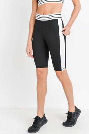 One Liner Compression Shorts- Black and White Clothing Fair Shade S Black and White 88% Polyamide 12% Elastaine