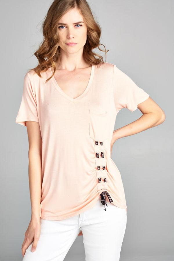 Pale Blush Tie Top Shirt Fair Shade Small