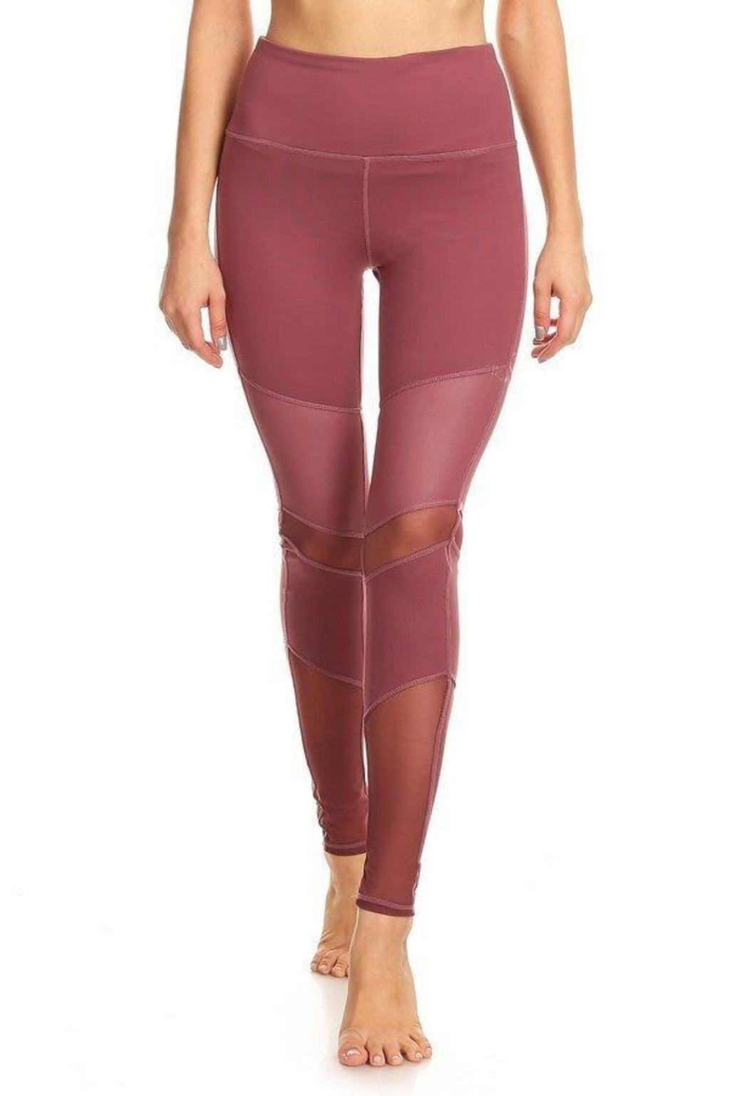 Peru Activewear Mesh Leggings- Mauve Clothing Fair Shade S Mauve 75% cotton, 12% Rayon, 13% Spandex