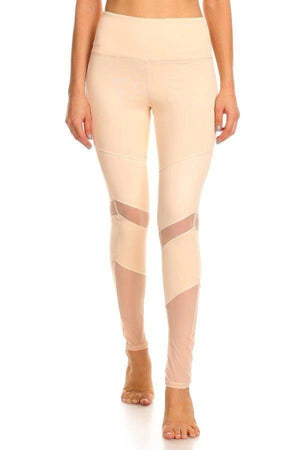 Peru Activewear Mesh Leggings- Peach Clothing Fair Shade S Peach 75% cotton, 12% Rayon, 13% Spandex