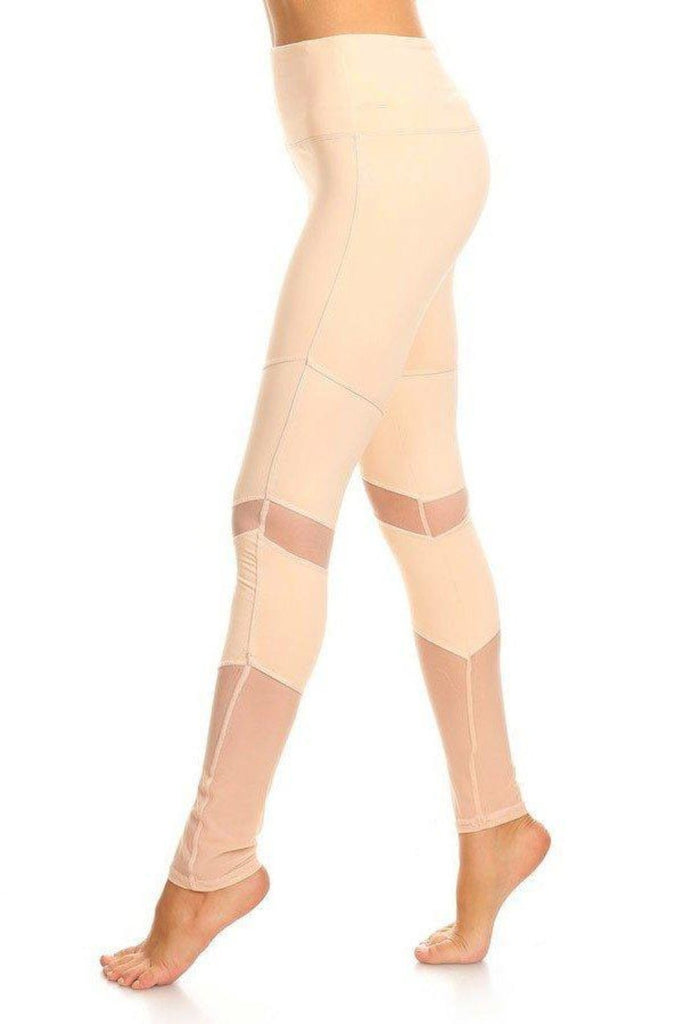 Peru Activewear Mesh Leggings- Peach