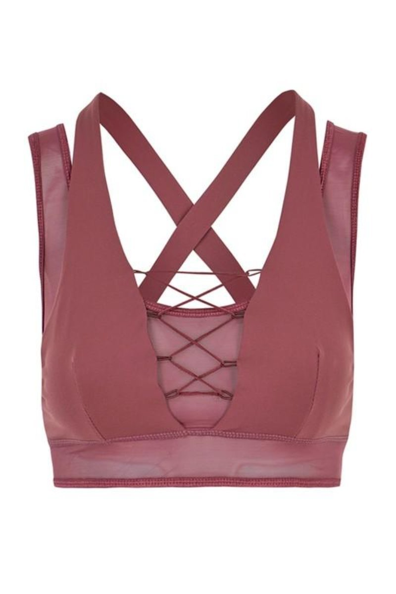 Karissa Sports Bra- Mauve Clothing Fair Shade S Mauve 87% Polyester- 13% Spandex