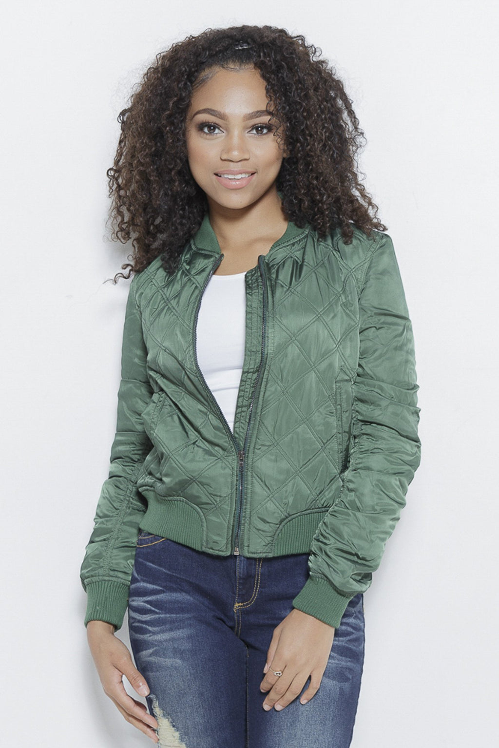 Quilted with Love- Bomber Jacket Clothing Fair Shade S Olive 100% Polyester