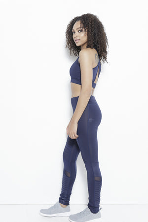 The Ripple Dream Active Leggings-Navy Clothing Fair Shade