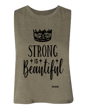 Strong Is Beautiful Muscle Tank Top Custom Tshirt Fair Shade S OLIVE