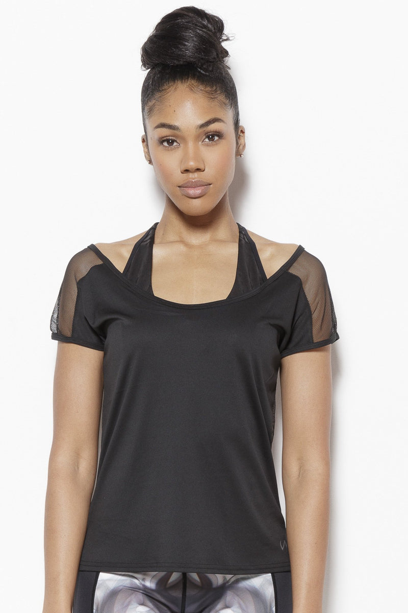 Tomika Activewear Top-Black Clothing TLF S Polyester, Nylon, Spandex Black