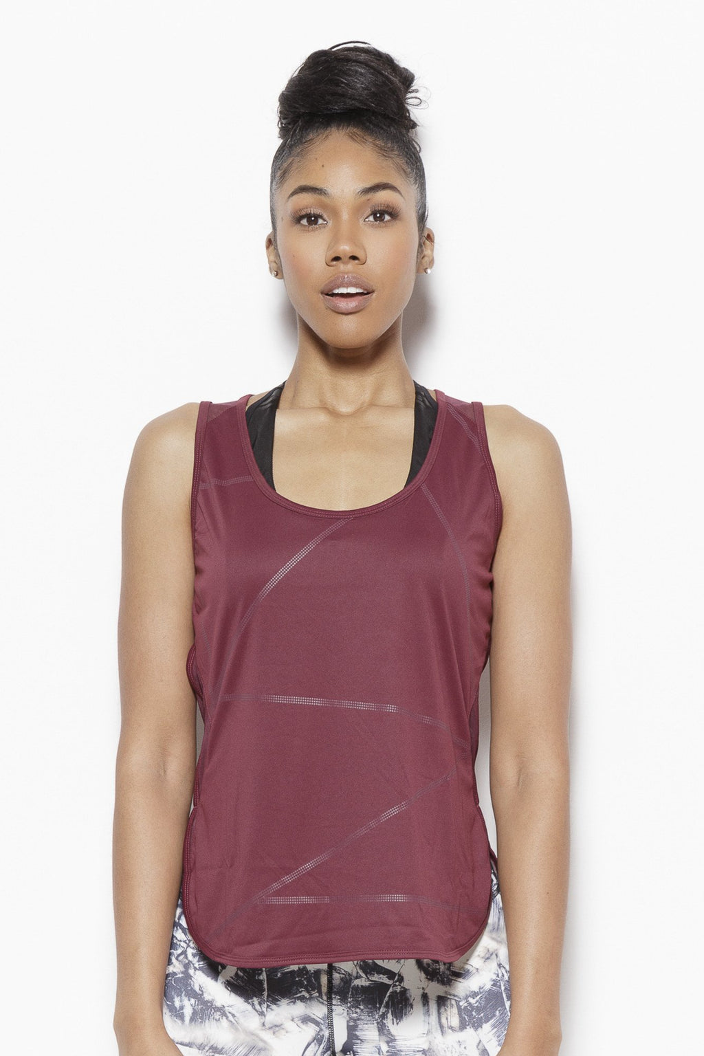 Cross Walk Activewear Tank Top-Wine Clothing TLF