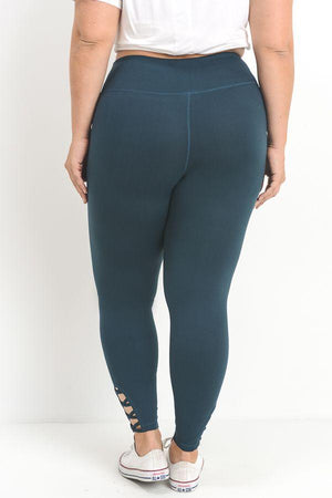 Jodi Lattice Performance Leggings- Plus Clothing Fair Shade