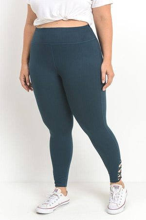 Jodi Lattice Performance Leggings- Plus Clothing Fair Shade XL Teal 88% polyester, 12% spandex.