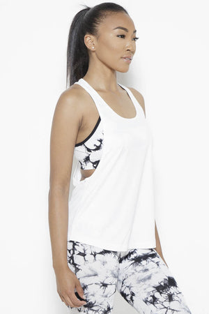 Crater in Arms Tank Top- White Clothing Soffe