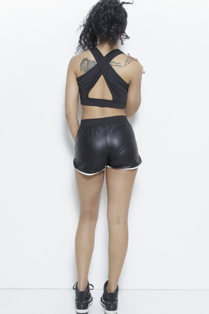 Deja Vu- Faux Leather Track Shorts Clothing Fair Shade