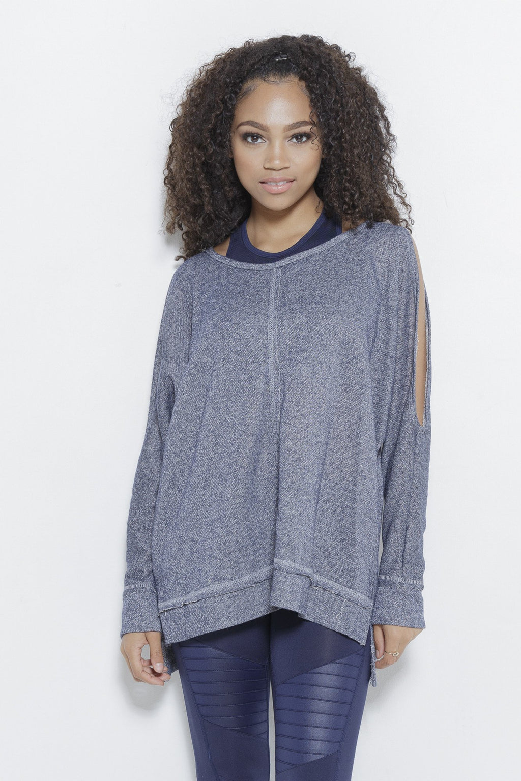Forever Fair-Navy LS Top Clothing Fair Shade S Heather Navy