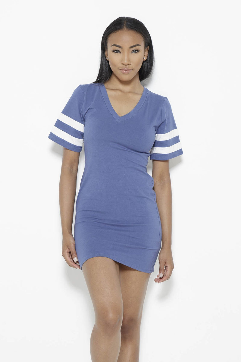 Instant Replay Dress-Blue Clothing Fair Shade S 94% cotton 6% spandex Blue