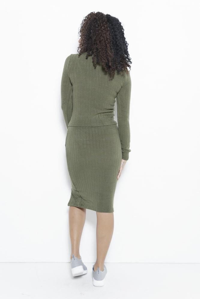 Just Intentional Knit Skirt-Olive Green Clothing Fair Shade