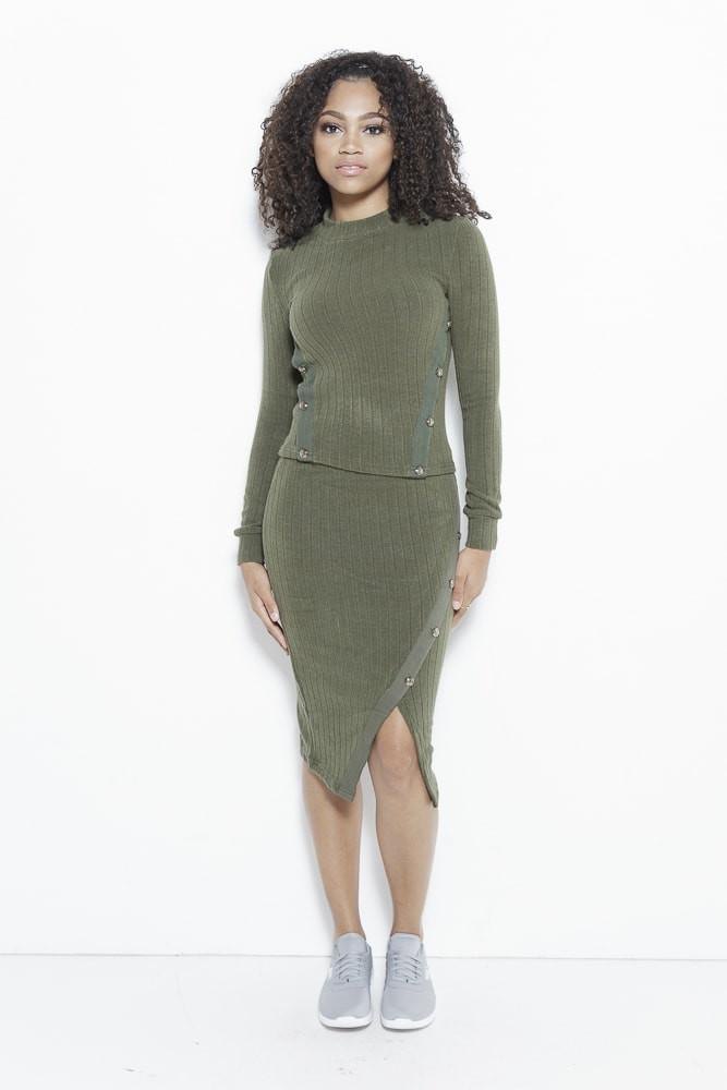 fair-shade - Just Intentional Knit Skirt-Olive Green - Clothing