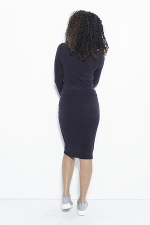 Just Intentional Knit Skirt-Navy Clothing Fair Shade