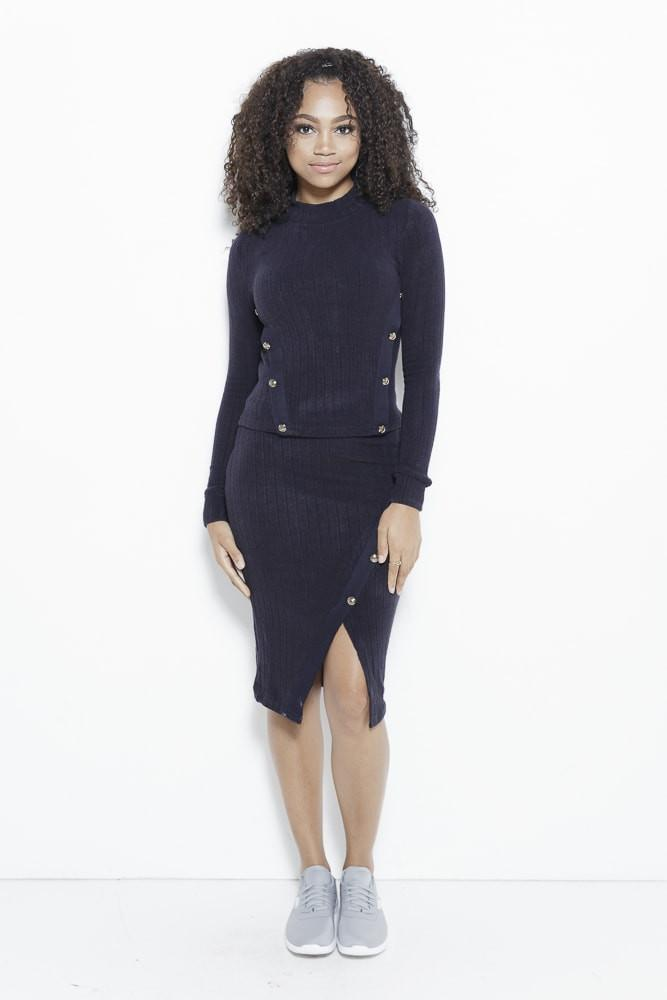 Just Intentional Knit Skirt-Navy Clothing Fair Shade S Navy 85% Acrylic, 12% Nylon, 3% Spandex