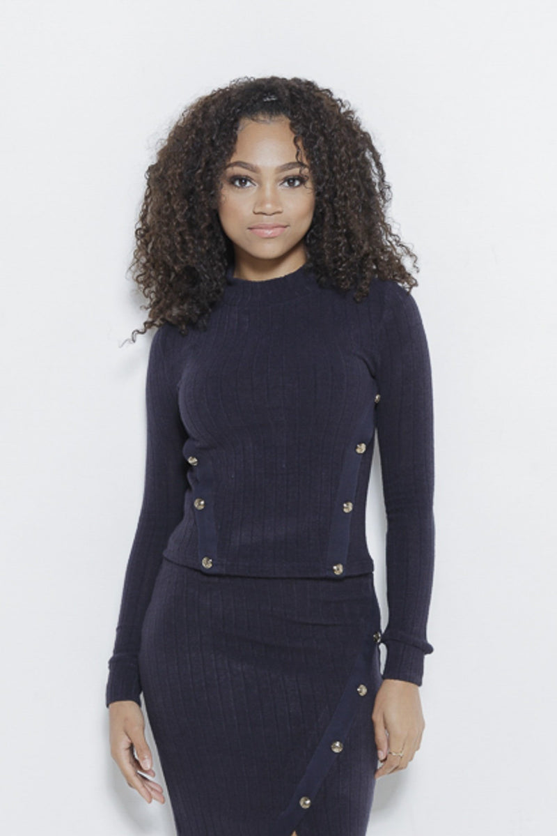 Just Intentional Knit LS Top-Navy Clothing Fair Shade S Navy 85% Acrylic, 12% Nylon, 3% Spandex