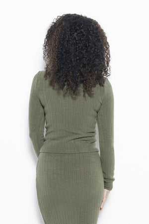 Just Intentional Knit LS Top-Olive Green Clothing Fair Shade
