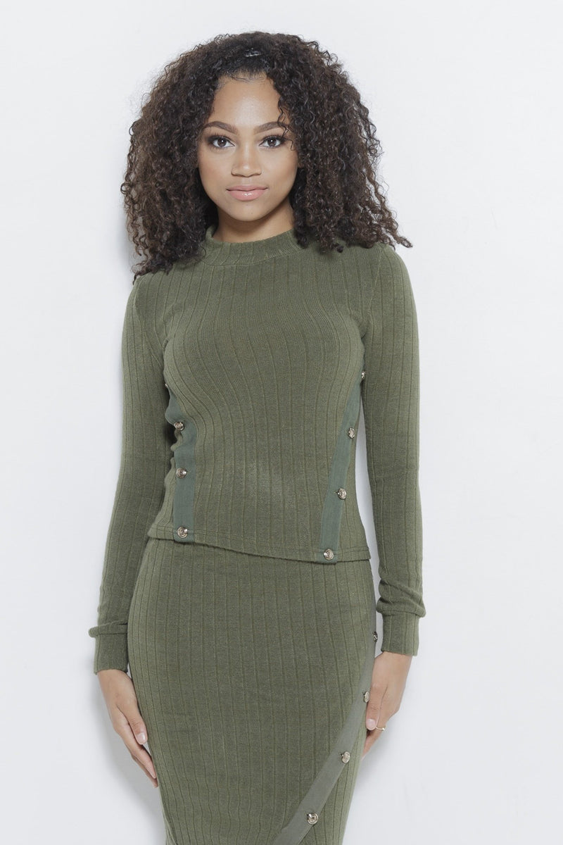 Just Intentional Knit LS Top-Olive Green Clothing Fair Shade S Olive Green 85% Acrylic, 12% Nylon, 3% Spandex