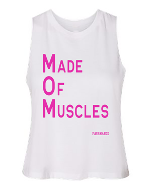 M.O.M.- Made of Muscle Tank Custom Tshirt Fair Shade S WHITE