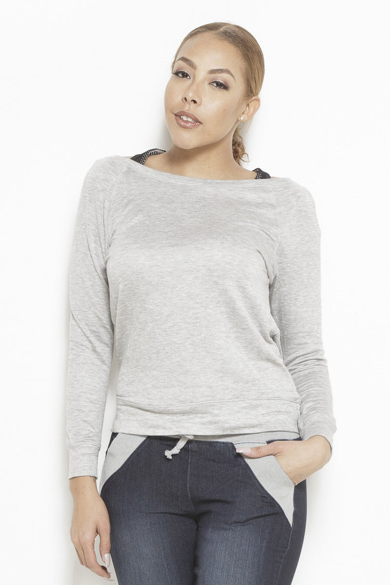 Outside Looking In LS Top- Heather Grey Clothing Fair Shade S Heather Grey