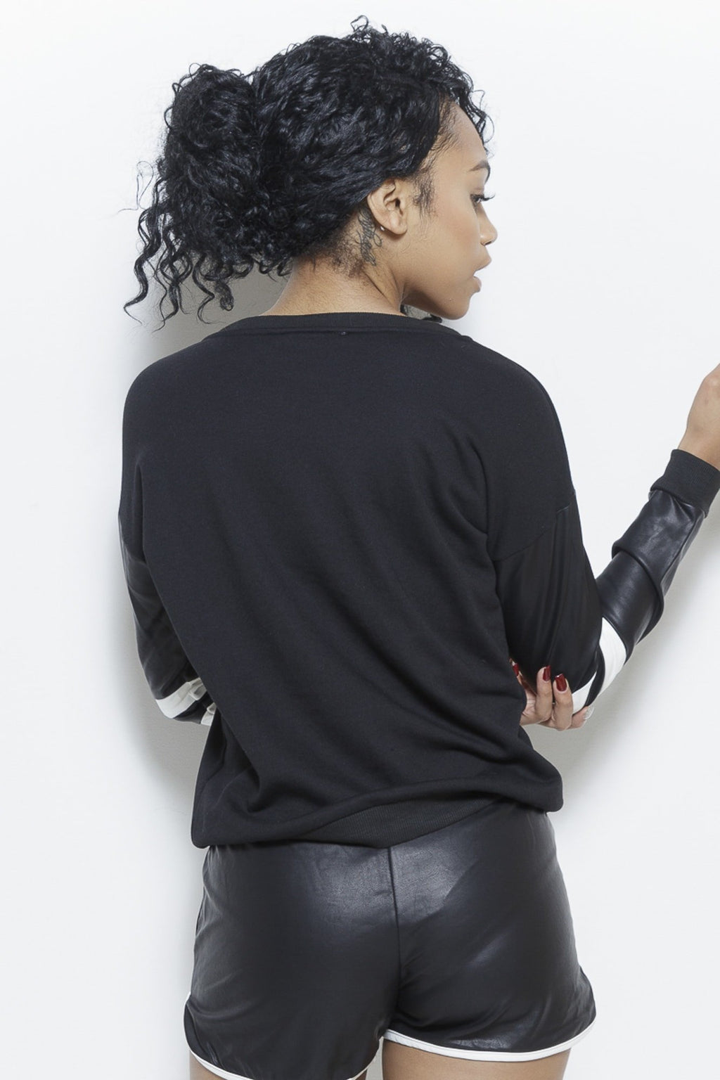 All Tied Up - Faux Leather Sweatshirt Clothing Fair Shade
