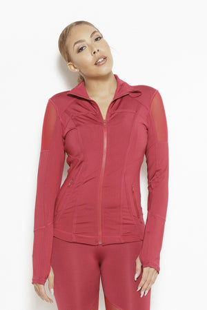 Vibes of Color Sports Jacket- Bright Red Clothing Fair Shade S Bright Red 87% Polyester, 13% Elastane