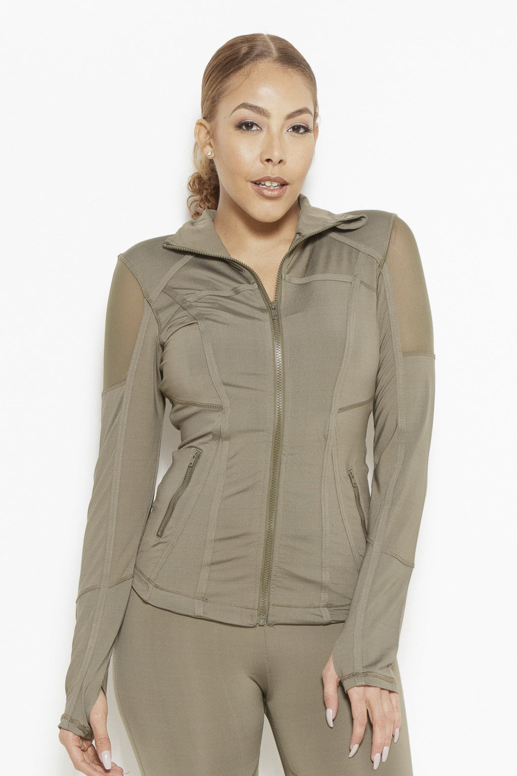 Vibes of Color Sports Jacket- Olive Green Clothing Fair Shade S Olive Green 87% Polyester, 13% Elastane