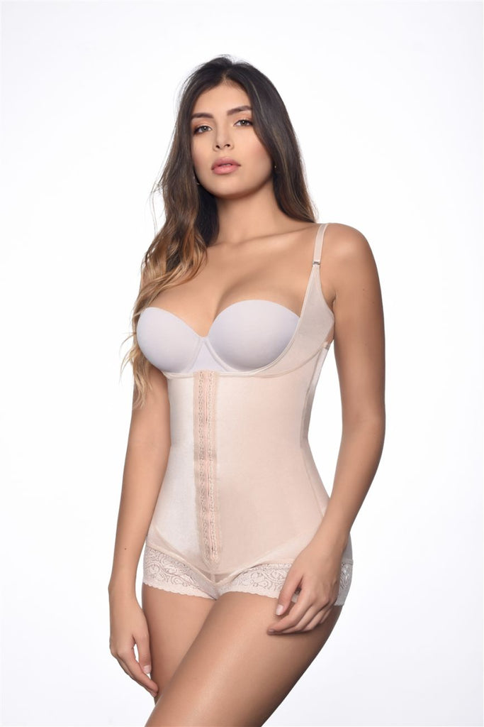 Vedette 136 Megane Open Bust Bodysuit w/ Lace Trim Color Nude