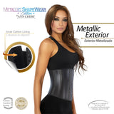 Ann Chery 2038 Metallic Latex Shapewear 2 Hooks Color Black