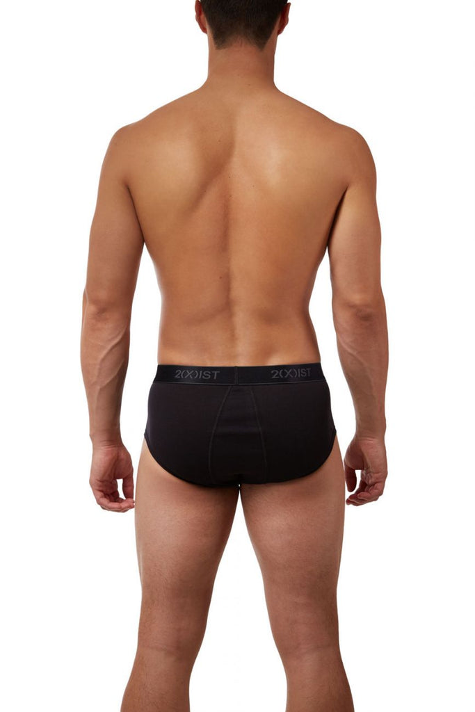 2(X)IST 3102003903 Cotton 3PK Fly-Front Briefs Color 006NL-Black-Gray-Charcoal
