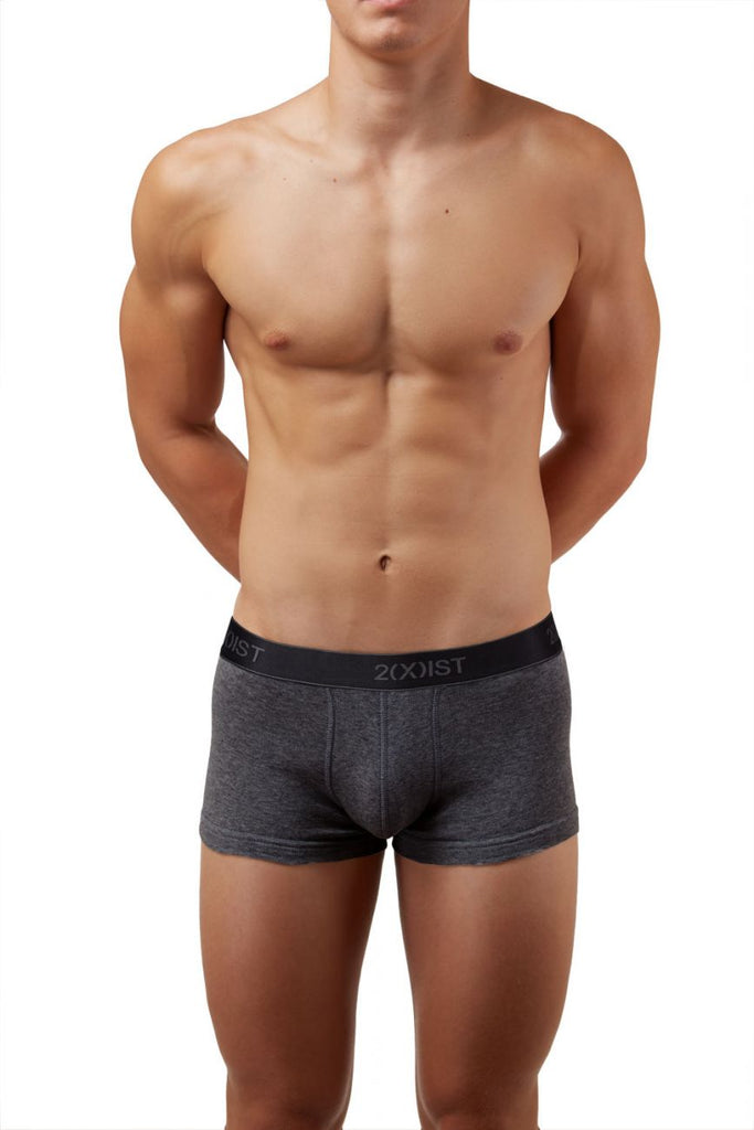 2(X)IST 3102033303 Cotton 3PK No-Show Trunks Color 968NL-Black-Charcoal-Red