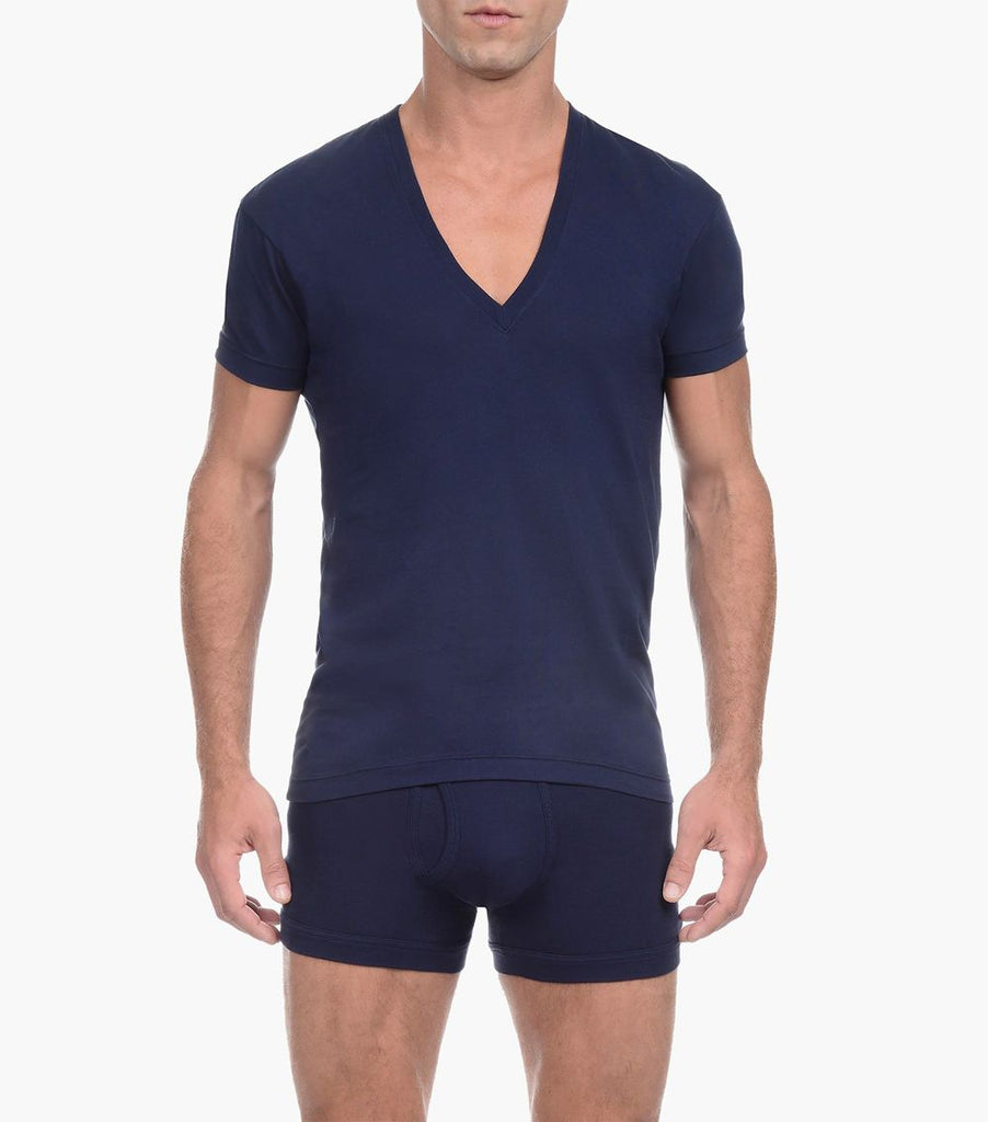 2(X)IST 3104104101 Pima Cotton Slim Fit Deep V-Neck T-Shirt Color 48007-Navy