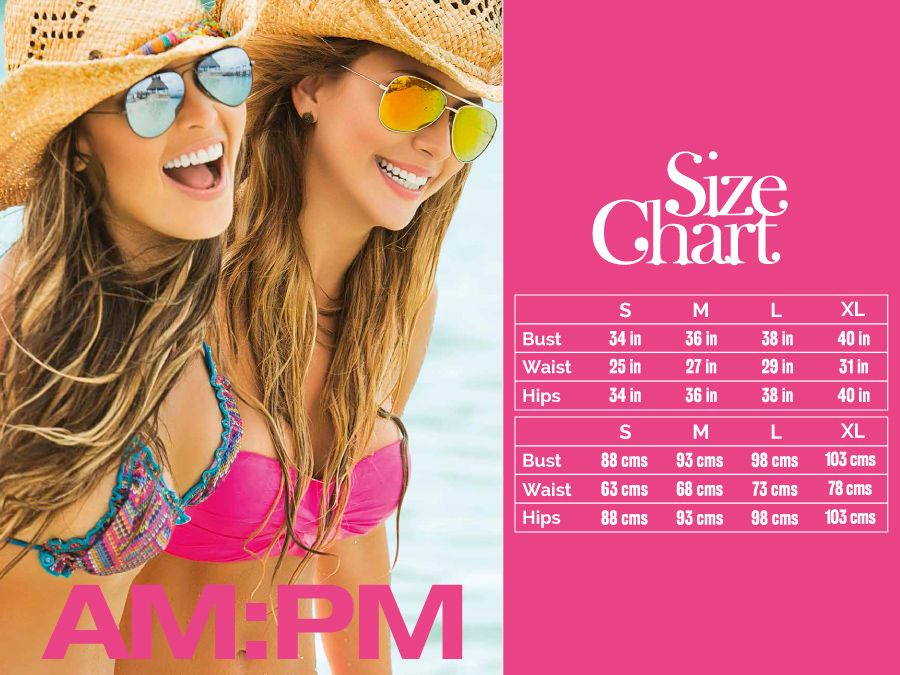 AM PM 6738 Two Piece Swimsuit Color Printed