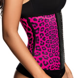 Ann Chery 2024 Latex Sport Workout Waist Cincher Corset Animal Print Color Fuchsia