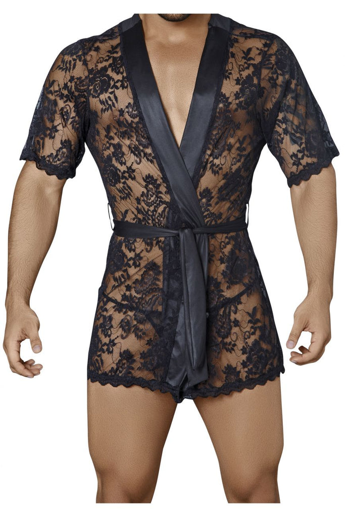 99322 Lace Kimono with Thong Color Black