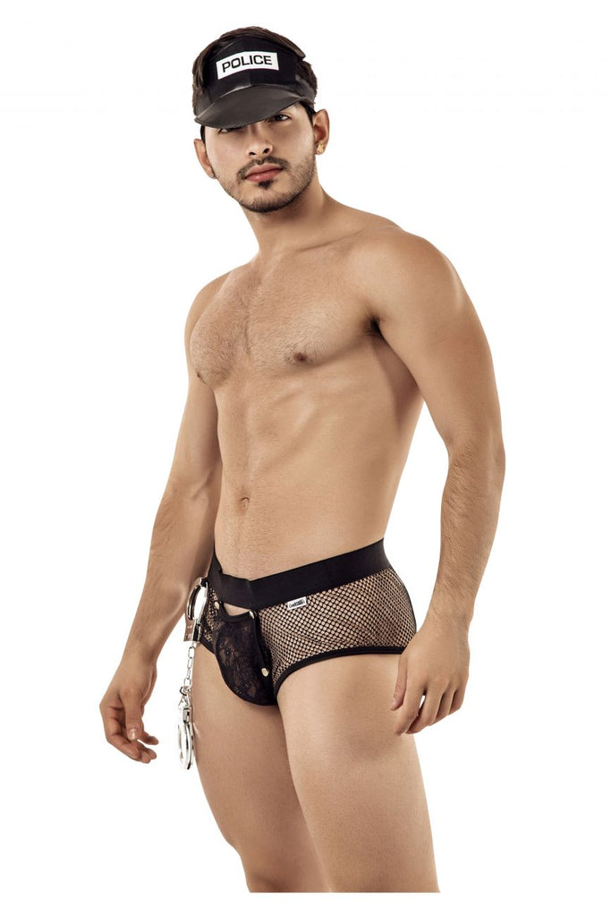 CandyMan 99414 Police Man Costume outfit Briefs Color Black
