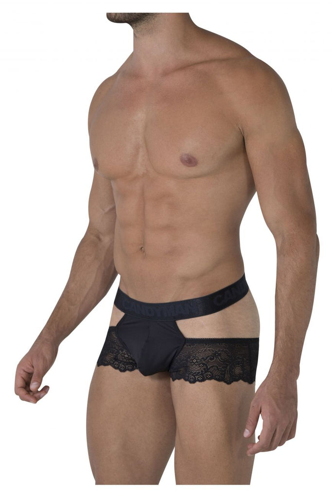 CandyMan 99467 Lace Jockstrap Color Black