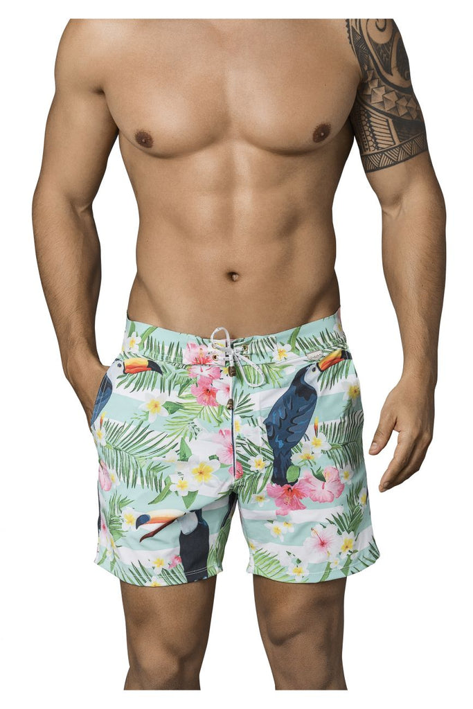 Clever 0666 Flowers Long Swim Trunks Color Green – MalestromOnline.com d5f4f105bb27