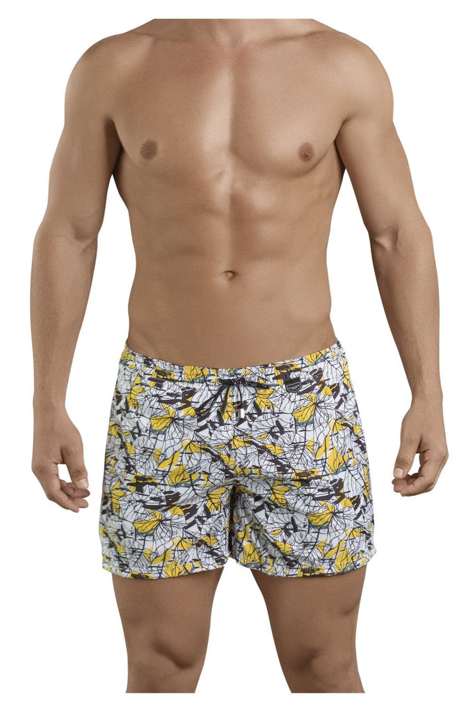 Clever 0684 Leaves Atleta Swim Trunks Color Yellow