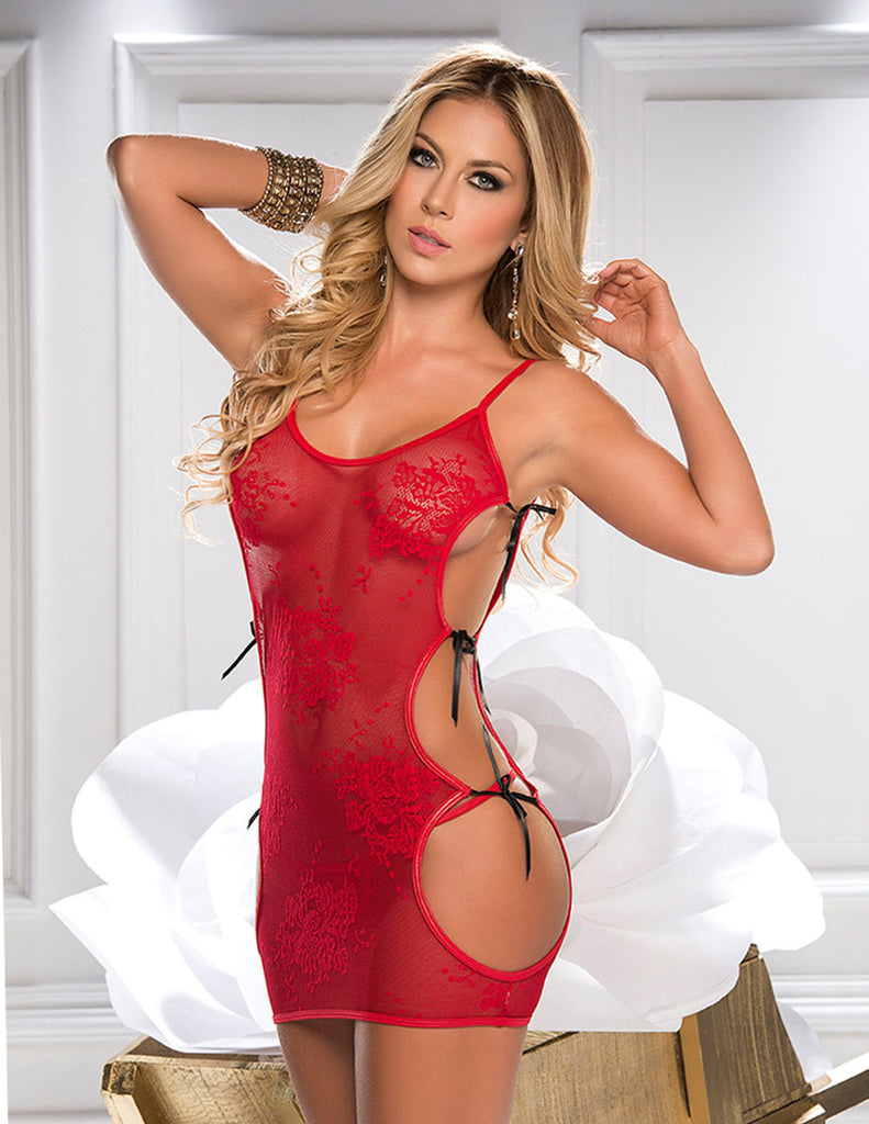 Espiral 7070 Babydoll with Matching G-String Color Red