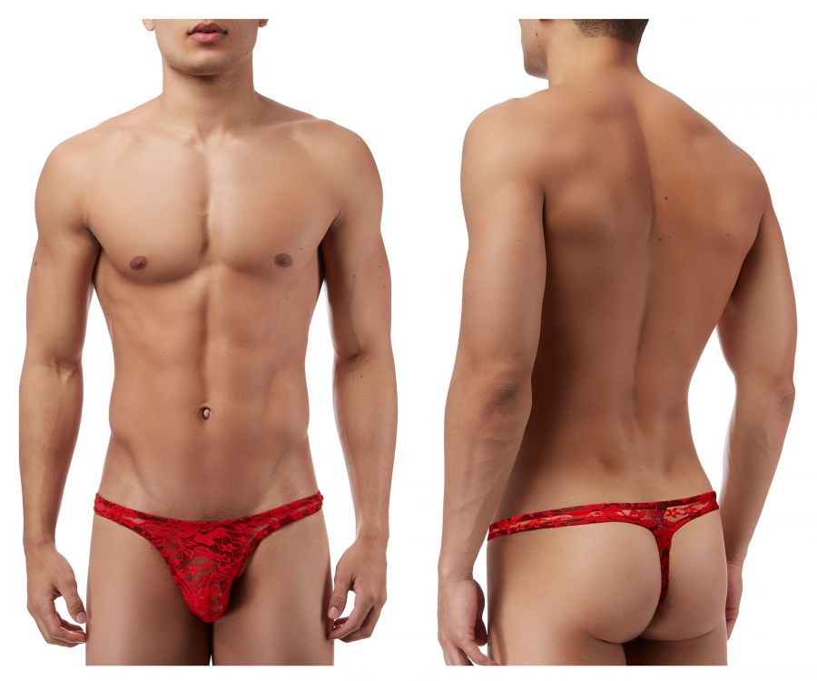 Male Power 442162 Stretch Lace Bong Thong Color Red
