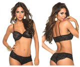 Mapale 207 Panty and Top Lace Set Color Black