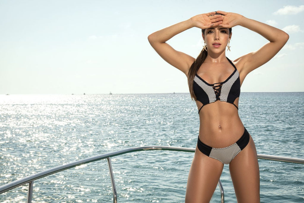 Mapale 6522 Two Piece Swimsuit Color Black-White