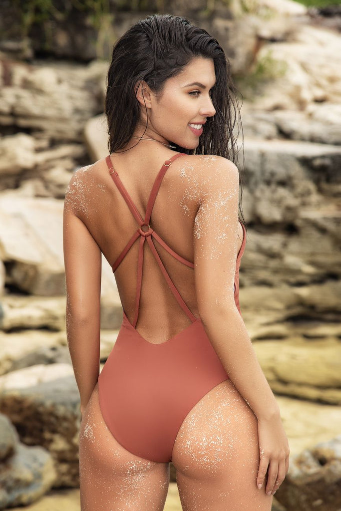 Mapale 6553 One Piece Swimsuit Color Terracotta