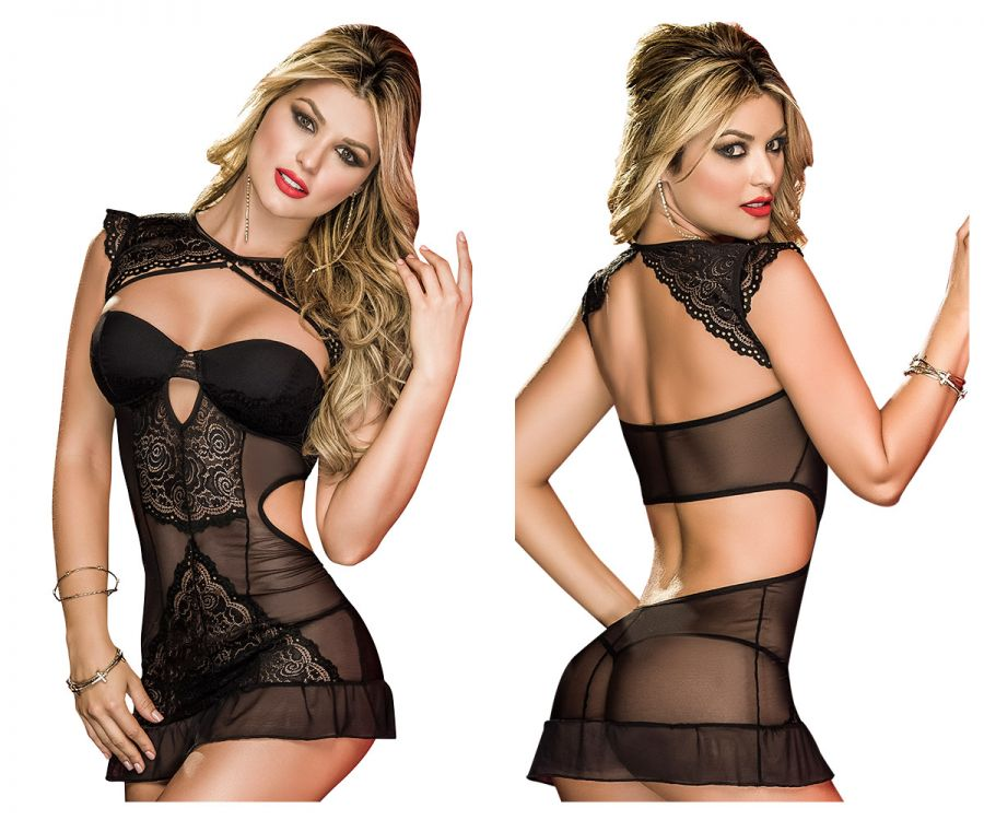 Mapale 7087 Babydoll with Matching G-String Color Black