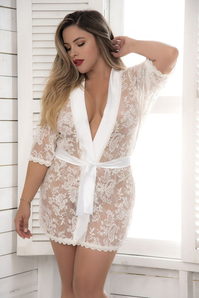 Mapale 7115X Lace Robe with Matching G-String Color Ivory