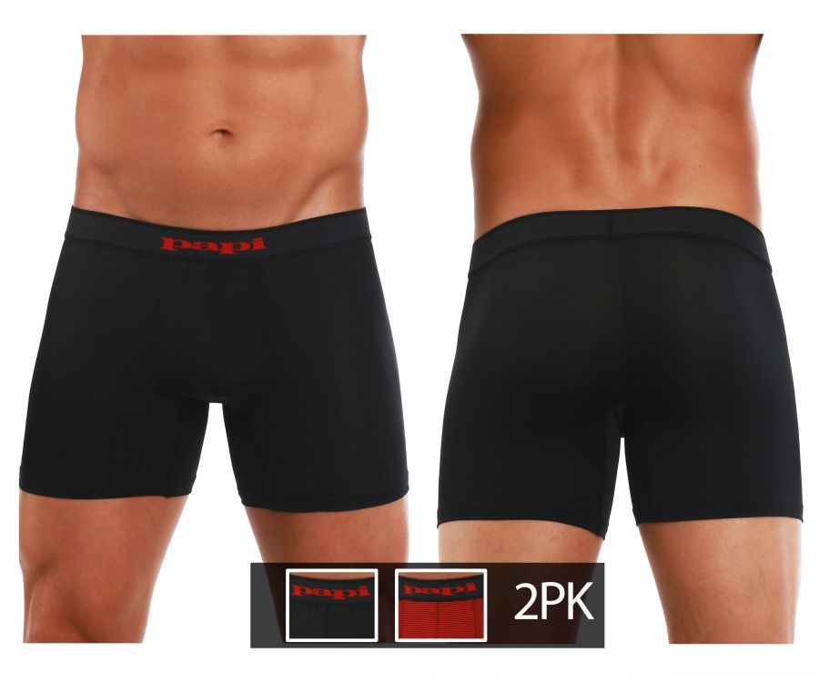 Papi 626185-982 Cool2 2PK Solid Boxer Briefs Color Black-Red