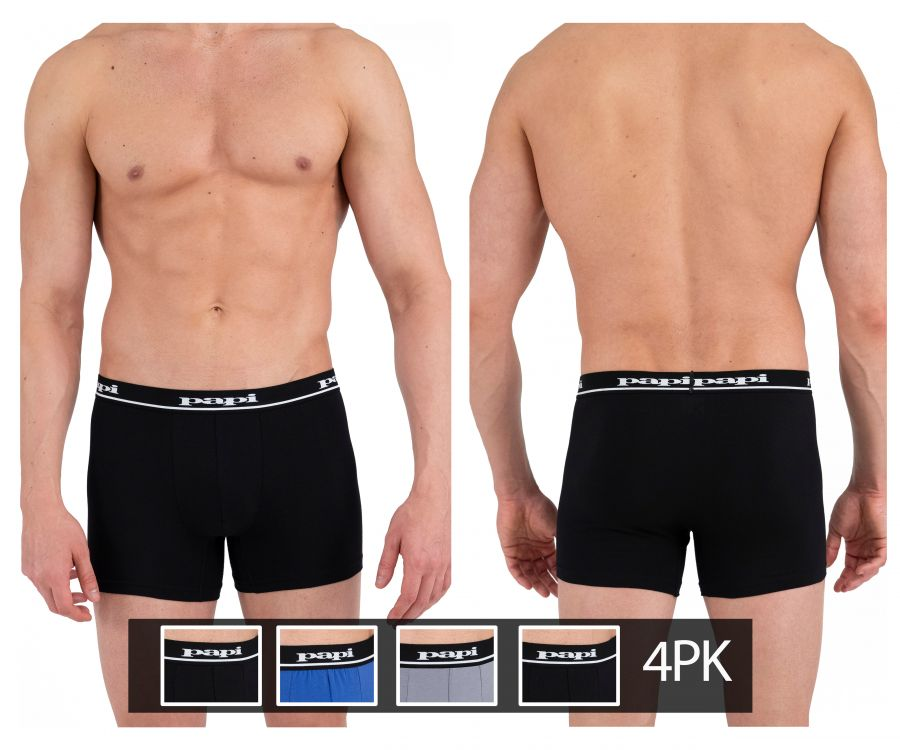 Papi 990001-968 4PK Boxer Briefs Color Black-Blue-Gray-Black
